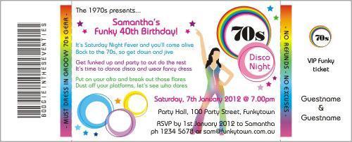 70s circles rainbow invitation
