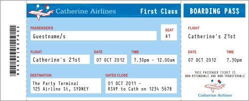 printable airline ticket invitation template template invitation templates