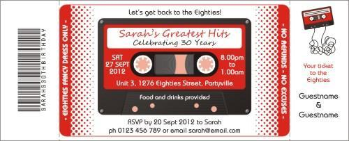 Cassette Tape Red Invitation
