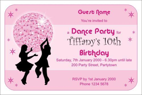 Disco Dance Pink Photo Size Invitation - Disco birthday invitation templates free