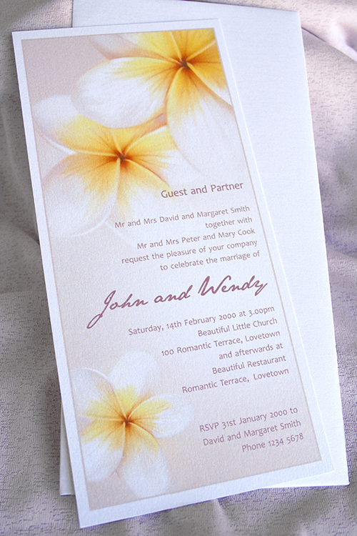 Frangipani invitations Pink for a birthday party or a wedding