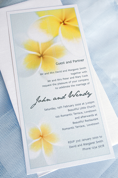 Frangipani invitations White for a birthday party or a wedding