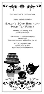 High tea black invitation high tea black stopboris Images