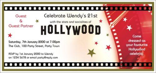 birthday invitations hollywood glamour hollywood gold size 210mm x ...