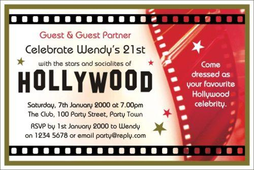 hollywood party invitations templates free design invitation templates ...