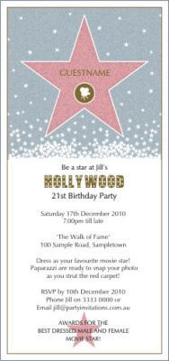 invitations hollywood glamour hollywood star pink size 210mm x 99mm