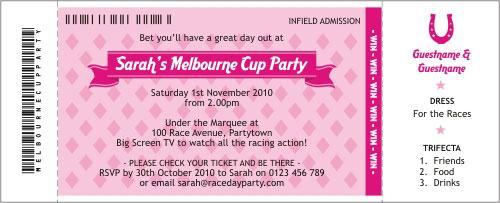Horse Race Pink Invitation – Party Invitations Melbourne