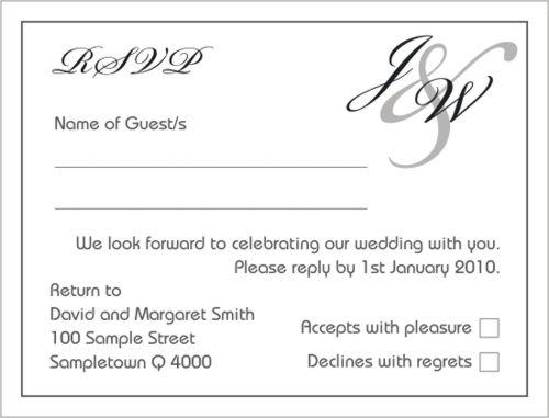 letters black rsvp invitation