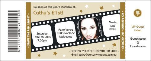Movie Premiere Gold Invitation