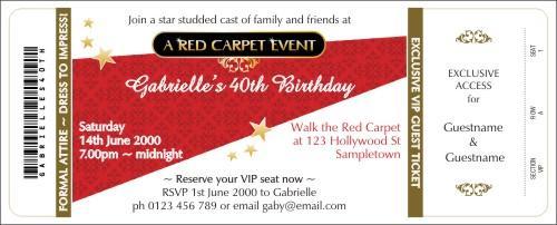 Red Carpet Invitation – Red Carpet Party Invitation