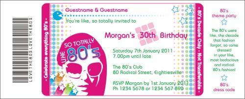 Totally 80s Girl Bright Invitation – 80s Party Invite Template