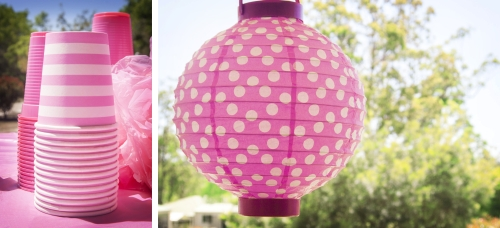 Pink Striped Cups and Polka Dot Lantern